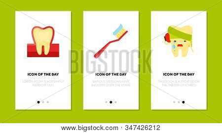 Teeth Care Flat Icon Set. Healthy And Sick Molar, Toothbrush With Paste Isolated Sign Pack. Oral Hyg