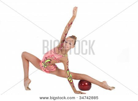 Gymnast Performs An Exercise With A Ball