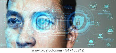 Future Security Data By Biometrics Eye Scanning.
