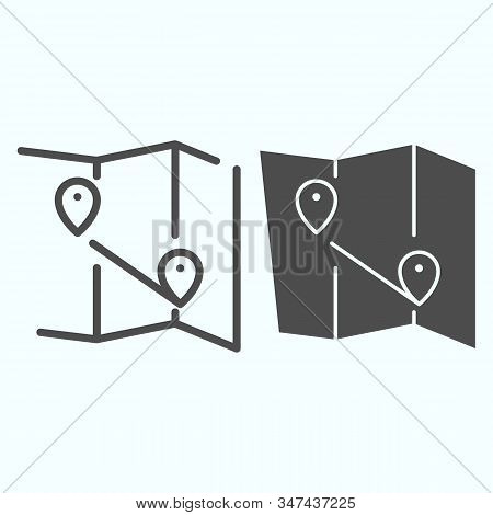 Map Line And Solid Icon. Atlas With Two Pointers Vector Illustration Isolated On White. World Map Wi