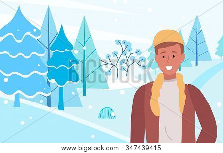 Person Stand On Snowdrift And Smile. Man Walking On In Winter Forest Alone. Guy Dressed In Warm Clot