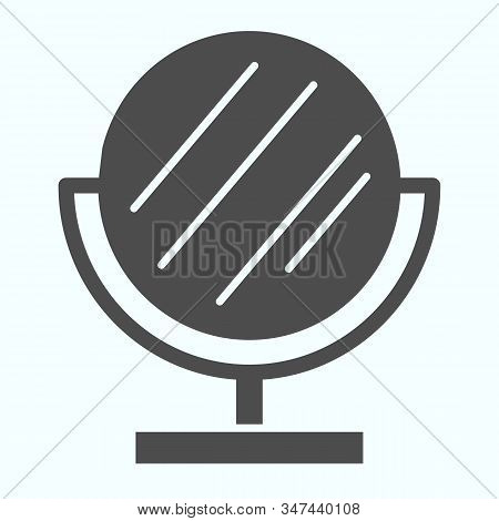 Mirror Solid Icon. Small Standing Mirror Vector Illustration Isolated On White. Round Makeup Mirror
