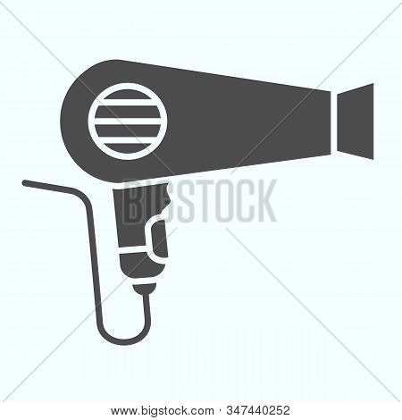 Hair Dryer Solid Icon. An Electrical Device For Drying Hair Vector Illustration Isolated On White. B