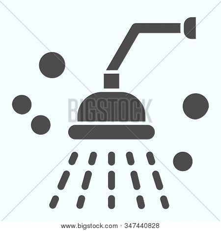 Shower Solid Icon. Bathroom Shower Vector Illustration Isolated On White. Shower Spray Glyph Style D