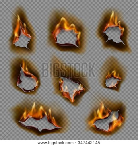 Burning Holes In Paper, Realistic Fire Flames And Torn Edges Vector Design On Transparent Background