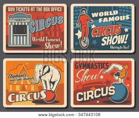 Circus And Funfair Carnival Show, Vector Vintage Posters. Shapito Big Top Circus Tent And Ticket Off