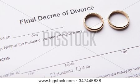 Two Golden Wedding Rings On Final Divorce Decree Document. Divorce And Separation Concept, Panorama