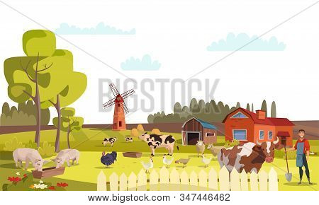 Farm Flat Vector Illustration. Summer Farm Landscape With Mill, Cattle, Poultry. Cows, Pigs, Chicken