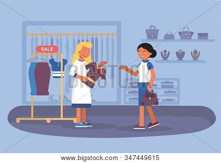 Clothing Shop Sale Flat Vector Illustration. Shopper, Buyer And Friendly Seller Assistant Cartoon Ch