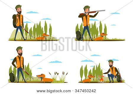 Duck Hunt Stages Flat Vector Illustrations Set. Hunter With Rifle And Dachshund Cartoon Character. A