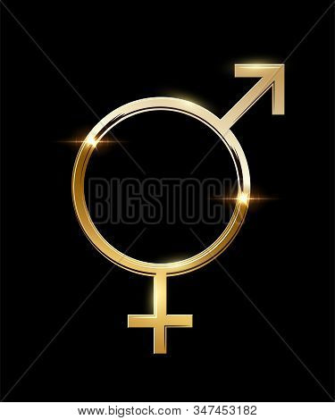 Goldeb Mars And Venus United Sign On Black Backdrop. Male And Female Gender Equality Symbol. Concept