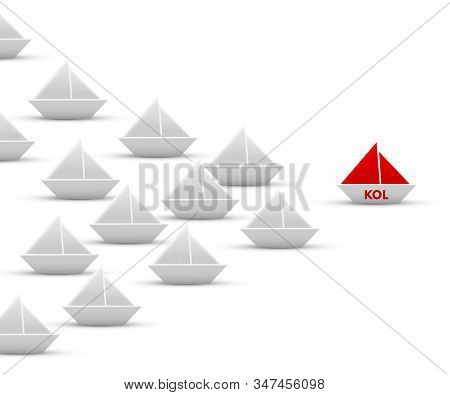 Main Leader Kol Paper Origami Ship With Red Sails Leading White Fleet. Sea Craft Sailing Isolated On