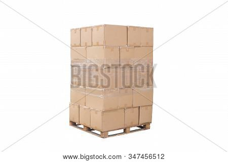 Brown Boxes On Wood Pallet, White Background With Clipping Path