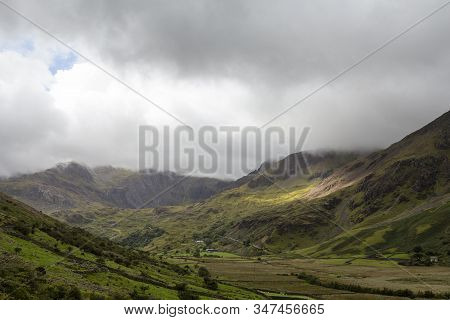 Beautiful Nant Ffrancon Valley In Snowdonia National Park In Wales, United Kingdom.