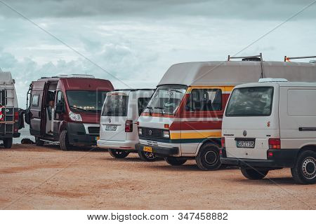 Sarges, Portugal - January 22, 2020: Campervans And Rvs Parked At The Beach Of Praia Do Beliche In T