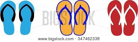 Slippers Icon Isolated On Background Vacation, Vector, Wear, Wet Slipper
