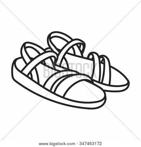 Sandal Vector Icon.line Vector Icon Isolated On White Background Sandal .
