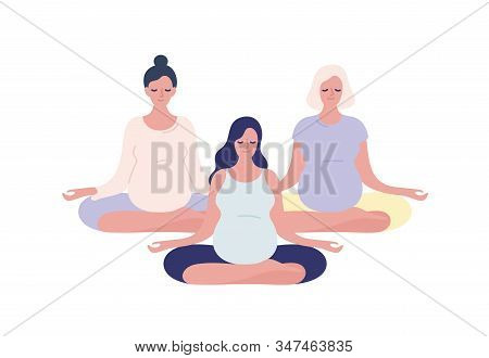 Group Of Relaxing Pregnant Woman Meditating In Lotus Pose Vector Flat Illustration. Pregnancy Female