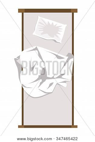 Unmade Messy Bed With Wrinkled Pillow And Sheet From Above. Vector Illustration