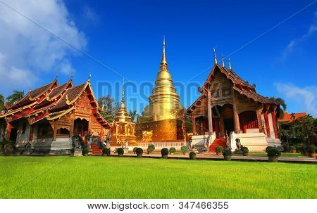 Wat Phra Singh Temple In Chiang Mai, Thailand. Most Popular Travel Destination And Attraction For To