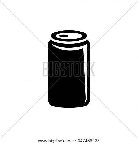 Aluminum Can, Soda Drink, Beer. Flat Vector Icon Illustration. Simple Black Symbol On White Backgrou