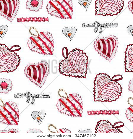Seamless Pattern With  Hand Drawn Sketch Of Sewing  Hearts And Decorative Tapes. Color Objects Isola