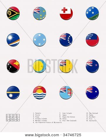 flag balls/stamps of Oceanian country