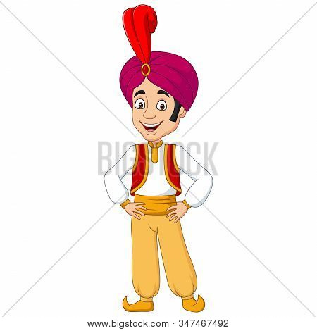Vector Illustration Of Cartoon Young Aladdin Posing On White Background