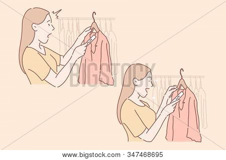 Shopping, Sale, Buyer Set Concept. Happy Woman Saw Dress On Sale And Amazed At It. Young Girl Buyer
