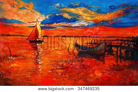 Original Oil Painting Of Fishing Boats And Sea On Canvas.rich Golden Sunset Over Ocean.modern Impres