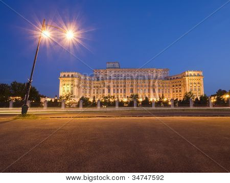 Palace Of The Parliament At Night