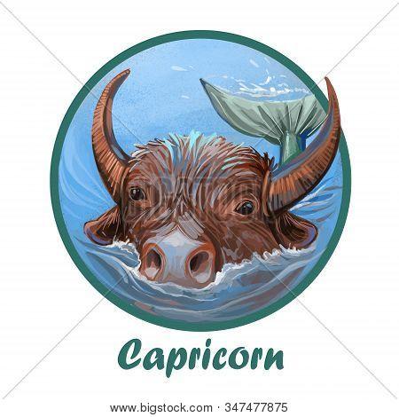Capricorn Metal Ox Year Horoscope Zodiac Sign Isolated. Digital Art Illustration Of Chinese New Year
