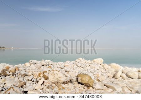 Crystalline Coastline Of Dead Sea, Jordan. Salty Shore Of The Dead Sea.