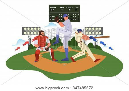 Baseball Player Throwing And Hitting A Ball. Baseball Player Training.