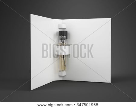 Perfume glass tester vial with blank paper cover for you design template. 3d rendering