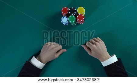 Risky Poker Player Bets All-in, Man Stakes Money On Business Project, Gambling