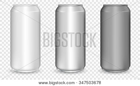 Realistic 3d Empty Glossy Metal White, Black And Silver Aluminium Beer Pack Or Can Set. Aluminum Bea