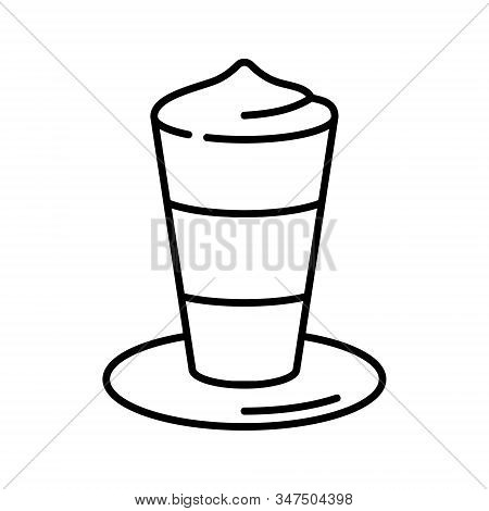 Latte Macchiato Vector Icon. Coffee With Foam In Glass With Saucer Isolated On White Background. Min