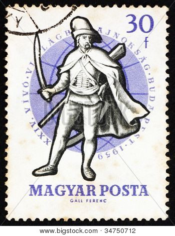 Postage stamp Hungary 1959 Soldier, 18th Century