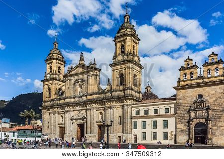 Bogota, Colombia - February 4, 2017 : Bolivar plaza in La Candelaria area Bogota capital city of Colombia South America