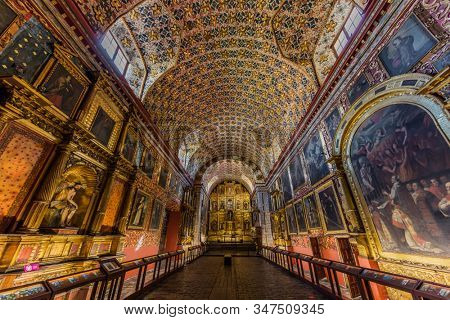 Bogota, Colombia - February 4, 2017 : Iglesia Santa Clara church in La Candelaria aera Bogota capital city of Colombia South America