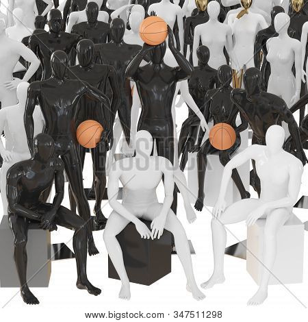 Three Mannequins Sit Against A Background Of Mannequins With A Basketball And Other Mannequins In Di