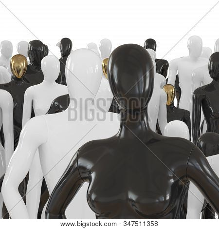 Female Mannequin Waist-high Against A Background Of A Group Of Black And White Mannequins. 3d Render