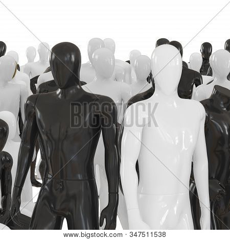 Black And White Male Mannequin At The Head Of A Group Of Other Mannequins. 3d Rendering