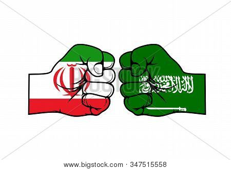 Iranian And Saudi Arabian Two Fists Against Each Other, Vector Design. Islamic Republic Of Iran Vs K