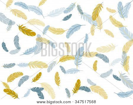 Sophisticated Silver Gold Feathers Vector Background. Wildlife Nature Isolated Plumage. Decoration C