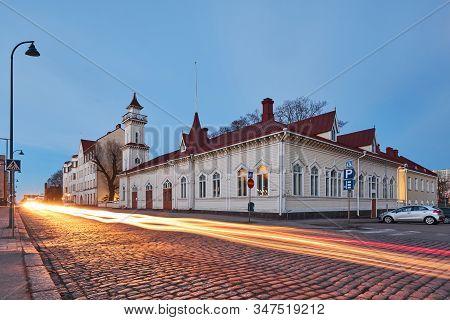 The Old Building Of Lyceum In Kotka, Finland