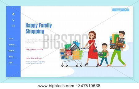 Family Walking On Shopping With Cart, Landing Web Page Template Vector. Characters With Bags And Pur