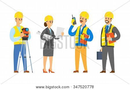 Builders With Tools And Instruments Vector, Lady With Planning And Scheme Constrolling And Supervisi