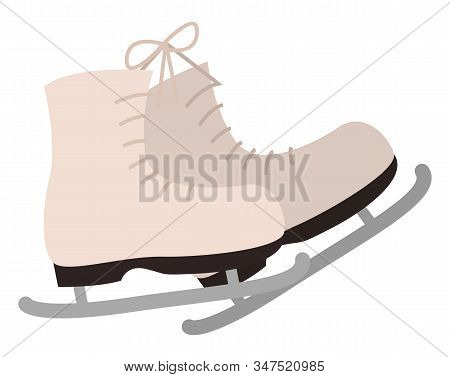 Winter Figure Ice Skating, Isolated Icon Of Boots With Blade And Shoelace. Shoes For Winter Sports A